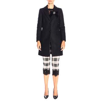 Twin-Set TWIN SET Coat Medium Coat In Mixed Wool With Lace Edges And Velvet Brooch