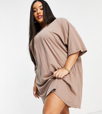 ASOS DESIGN Curve oversized t-shirt dress in mink