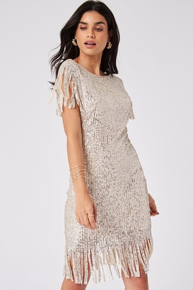 Girls On Film Fame Cream Sequin Fringe Bodycon Midi Dress