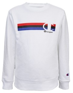 Champion Big Boys Multi Stripe C Script Fleece Crew Sweatshirt