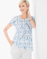 Chico's Caribbean Ikat Easy High Low Tee