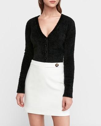 Express High Waisted Button Tab Mini Skirt