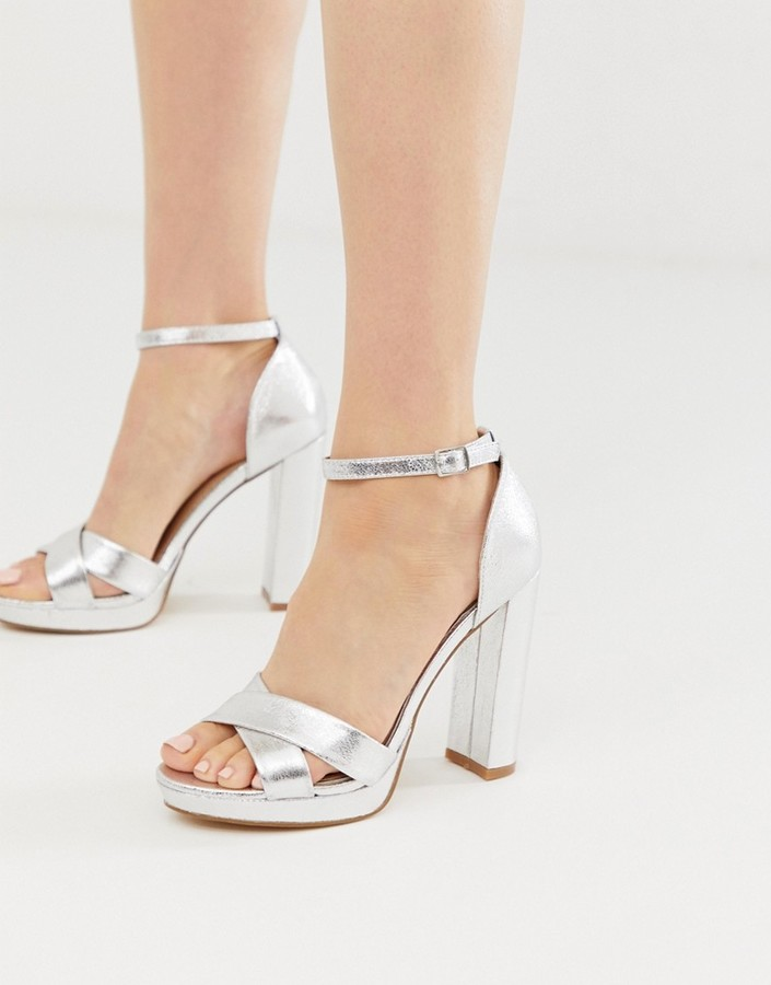 By Dune Namba silver flatform ankle strap heeled sandals