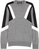 Neil Barrett Abstract Grey Colour-block Wool Jumper