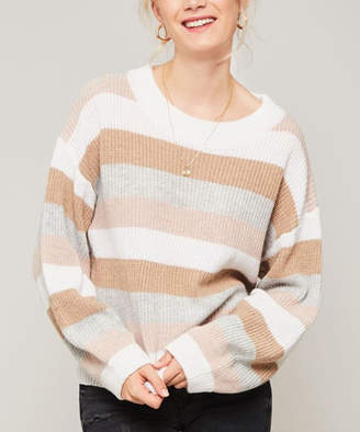 Avenue Hill Women's Pullover Sweaters CAMEL/MAUVE - Camel & Mauve Stripe Long-Sleeve Sweater - Women