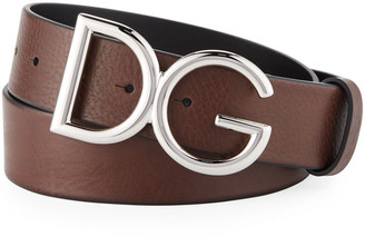 Dolce & Gabbana Men's Leather Belt with Logo-Plate Buckle