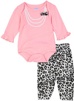 Bon Bebe Pink Pearl Graphic Bodysuit & Leopard Leggings - Infant