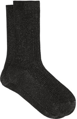 Falke Metallic Ribbed-knit Ankle Socks - Black