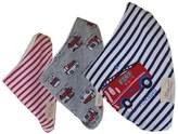 Kylin Express Lovely Baby Feeding Bandana Bibs for Babies and Toddlers Set of 3(fire truck)