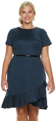 Plus Size Suite 7 Belted Plaid Short Sleeve Dress