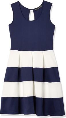Chetta B Women's Sleeveless Scoop Neck Color Blocked Scuba Fit and Flare Dress Navy/Ivory 14
