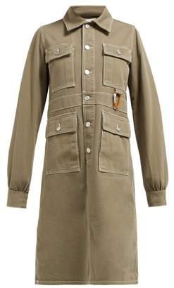 Ganni Hopewell Contrast Stitch Denim Dress - Womens - Khaki