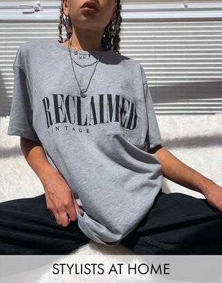 Reclaimed Vintage inspired logo pocket t-shirt in washed black