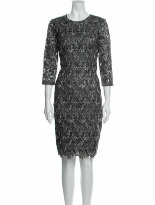 St. John Lace Pattern Knee-Length Dress Grey