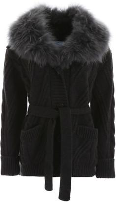 Prada Maxi Cardigan With Fur