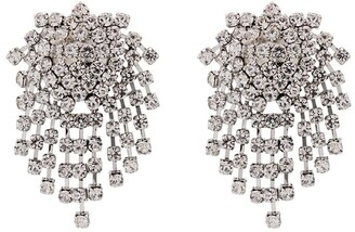 Kenneth Jay Lane Silver-Tone Crystal-Embellished Clip Earrings