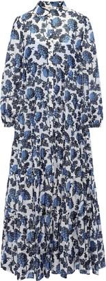 Diane von Furstenberg Kiara Gathered Printed Voile Maxi Dress