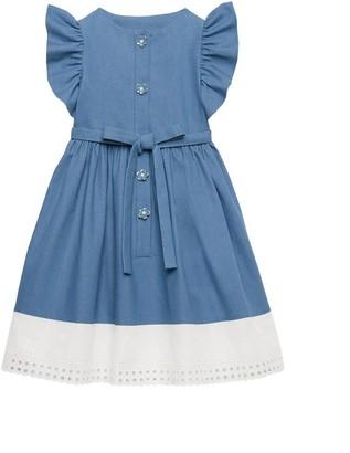Oscar de la Renta Ruffle Denim Dress
