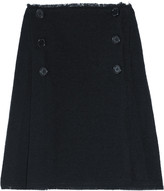 Lithium pleated wool-tweed skirt