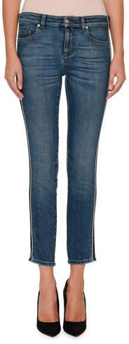 Alexander McQueen Skinny-Leg Side-Stripe Cropped Jeans