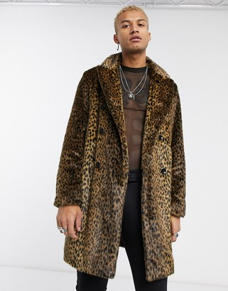 Asos Design DESIGN leopard print faux fur overcoat-Brown