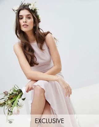 TFNC Maxi Bridesmaid Dress With High Low Hem-Brown