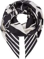 Max Mara Silk Foulard Floral Printed Scarf, Black, One Size