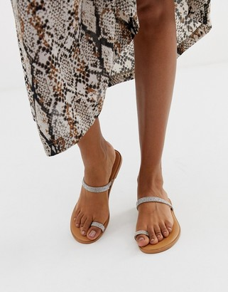 Asos Design DESIGN Fairness embellished toe loop flat sandals-Beige