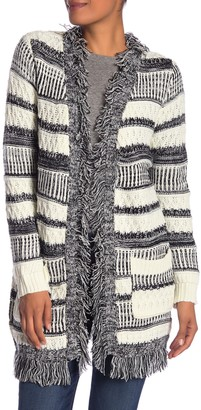 Papillon Stripe Knit Fringe Cardigan