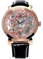 Lindberg & Sons SK14H065 - wrist watch for men - skeleton - automatic movement analog display - pink dial - black leather bracelet