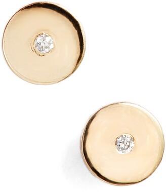 Zoë Chicco Round Disc Center Diamond Stud Earrings