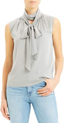 Theory Scarf Tie Sleeveless Stretch Silk Blouse