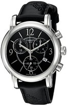 Tissot Men's Swiss Quartz Stainless Steel and Leather Casual Watch, Color:Black (Model: T0502171705700)