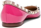 Valentino Rockstud Patent Leather Ballerina Flat in Pink