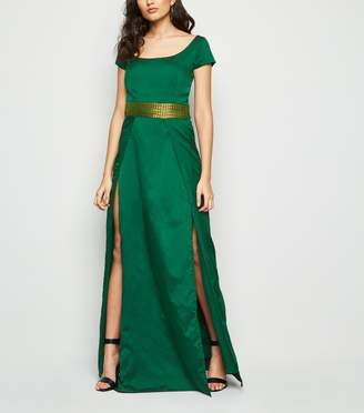 New Look Nesavaali Pleated Waist Split Hem Maxi Dress