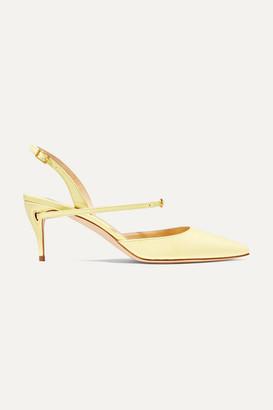 Jennifer Chamandi Vittorio 65 Patent-leather Slingback Pumps - Pastel yellow
