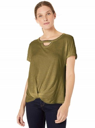 Democracy Women's Short Sleeve Tee with Cut Out Neck and Side Twist