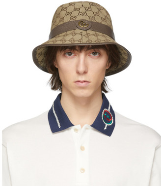 Gucci Beige and Brown GG Supreme Bucket Hat