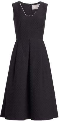 Lela Rose Raised Dot Jacquard Fit-&-Flare Dress