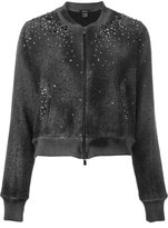 Avant Toi studded allover bomber jacket - women - Cotton/Linen/Flax/Polyamide/Crystal - S
