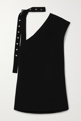 Proenza Schouler Buckle-detailed Asymmetric Crepe Top - Black