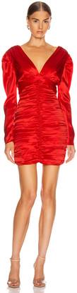 Nicholas Gathered Party Dress in Scarlet | FWRD