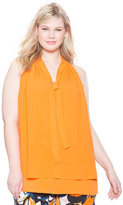 ELOQUII Plus Size Tie Neck Sleeveless Top