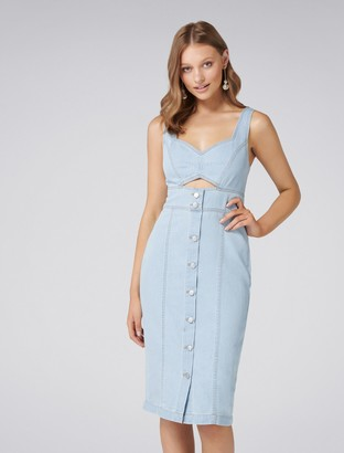 Forever New Celina Cut-Out Denim Midi Dress - Light wash - 4