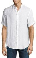Armani Collezioni Banded-Collar Linen Sport Shirt, White