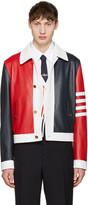 Thom Browne Tricolor Leather Harrington Jacket