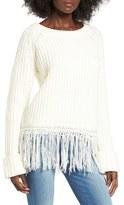 Moon River Women's Fringe Hem Sweater