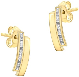 Love Gold 9ct Gold Cubic Zirconia Double Bar Stud Earrings