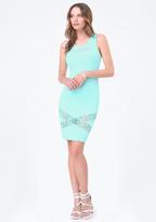 Bebe Logo Crisscross Lace Dress