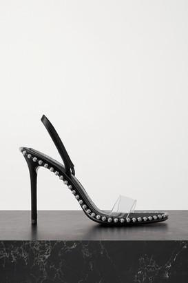 Alexander Wang Nova High Crystal-embellished Satin And Pvc Slingback Sandals - Black
